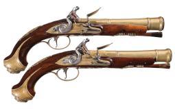 Pair of Joseph Heylin Officer's Blunderbuss Flintlock Pistols