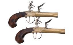 Pair of Anne Marchot Inscribed Box Lock Flintlock Pistols