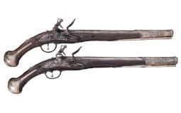 Pair of Silver Mounted Flintlock Horse Pistols