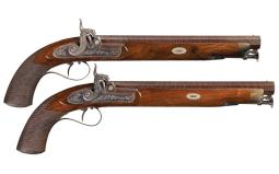 Pair of Mapplebeck & Lowe Marked Percussion Belt Pistols