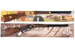 Two Boxed Winchester Model 94 Commemorative Lever Action Rifles