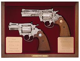 Cased Pair of Engraved Colt Diamondback Revolvers
