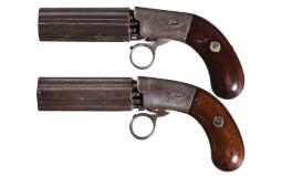 Two Blunt & Syms Medium Frame Percussion Pepperboxes