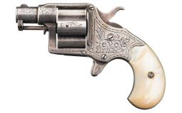 Engraved Colt Cloverleaf House Model Revolver with Pearl Grips