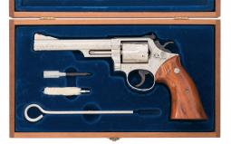 Factory Engraved Nickel Plated Smith & Wesson Model 19-3