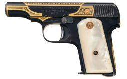Gabilondo y Urresti Bufalo Pistol, Gold Damascene/Engraved