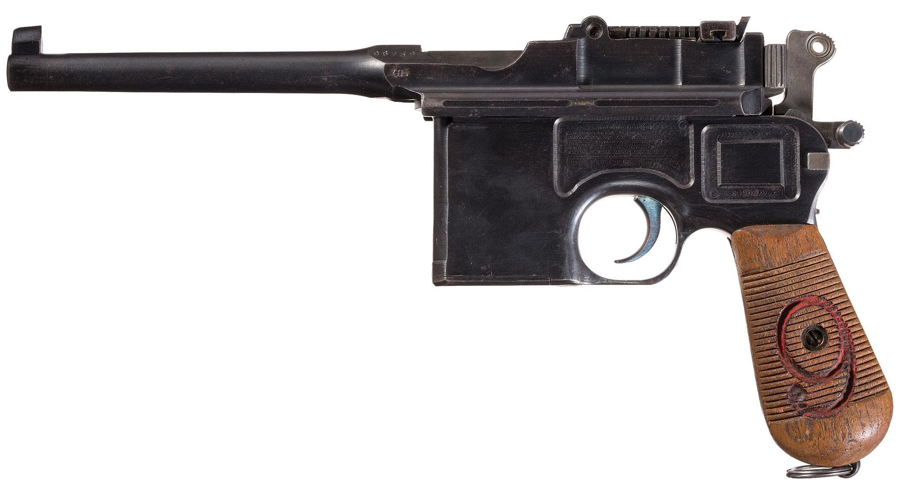 Mauser 1896 red nine military broomhandle pistol pistol firearms auction lot 733
