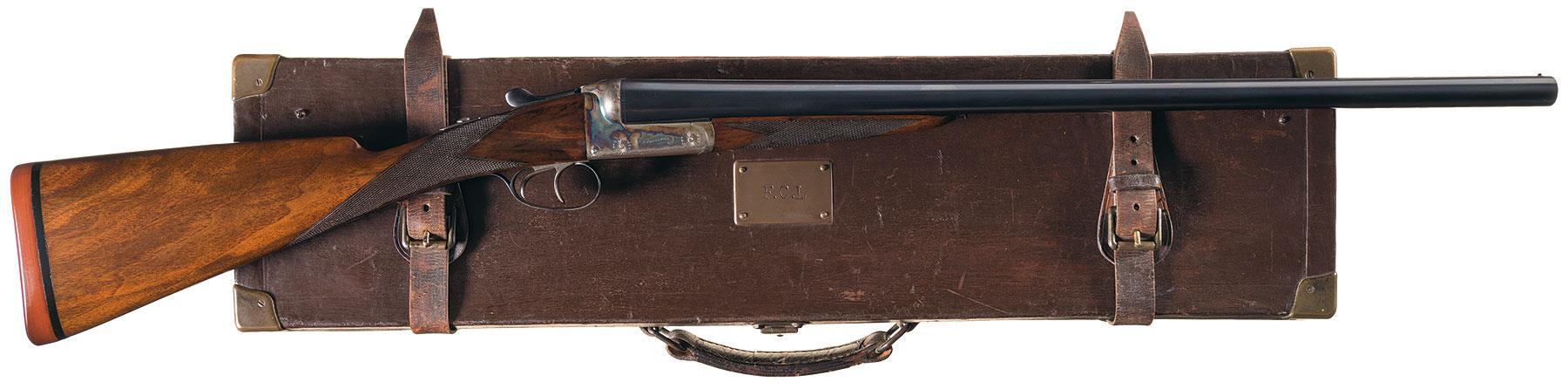 Engraved E  J  Churchill Crown Model Hammerless Double Barrel