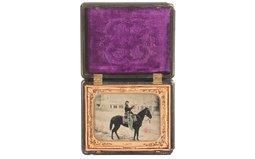 Scarce Gutta Percha Cased Portrair of a Mounted U.S. Cavalryman