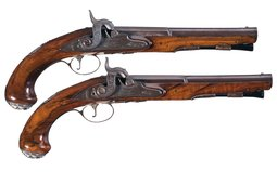 Pair of Joiner Silver Mounted Officer's Pistols