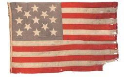 Historic U.S.S. Wabash Marked 13 Star Ensign Flag