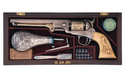 Colt Model 1851 Navy Revolver with Relief Carved Grip