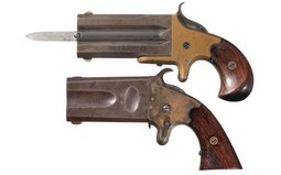 Two Rare Swivel Breech Double Barrel Pistols