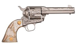 Wolf and Klar Engraved Nickel-Plated Colt Single Action Army