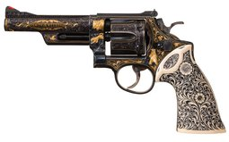 S. Rentschke Engraved S&W 357 Magnum Revolver with Carved Grips