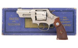 Nickel Plated S&W Registered Magnum Revolver with Factory Letter