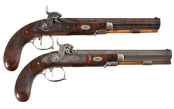 Pair of Engraved T.J. Albright Percussion Pistols