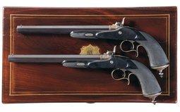 Cased Pair of J. Boussart Liegoise Percussion Dueling Pistol