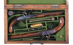 Cased Pair of John Harcourt Flintlock Dueling Pistol