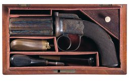 Exceptional Cased Engraved Dooley Percussion Pepperbox