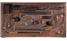 Cased Pair of French Underhammer Percussion Pistols