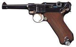 Mauser S/42 Code 1937 Date Luger Pistol, w/Ex. Mag, Holster