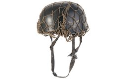 Camo Netted Nazi Paratrooper Helmet & Flak Trooper Gas Mask Set