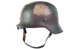 Nazi 1942 Stahlhelm and Gas Mask Can, Tri-Tone Painted, w/Mask