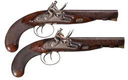 Pair of William Parker Double Barrel Flintlock Pistols