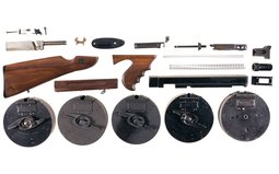 Thompson SMG Parts, Including 5 Fifty-Round Drum Magazine