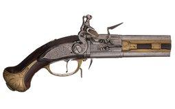 Engraved Wender Style Flintlock Turn-Over Pocket Pistol