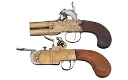 Double Barrel Percussion Pistol and a Flintlock Powder Tester
