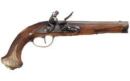 Anton Sebert Gold Inlaid Gilt Brass Mounted Flintlock Pistol