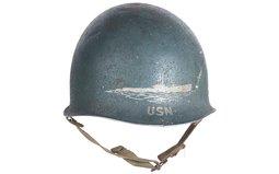 U.S. M1 Helmet with U.S.N. Submarine Captain Decoration