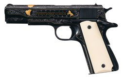 Angelo Bee Engraved, Gold Inlaid Colt Government Model Pistol