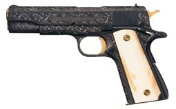 Joe Condon Engraved and Gold Inlaid Colt Government Model Pistol