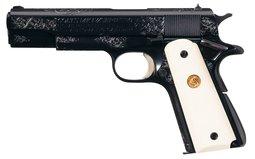 George Spring Engraved Colt MK IV Series 70 Pistol with Letter