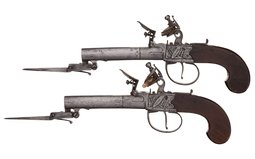 Pair of Box Lock Flint Pistols with Snap Bayonets by Parr