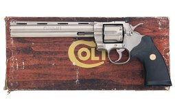 Nickel Colt Python Double Action Revolver with Box