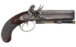 Clark Over/Under Double Barrel Flintlock Pistol