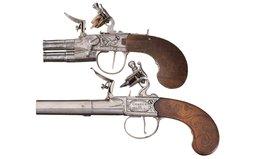 Two Engraved Box Lock Flint Pistols