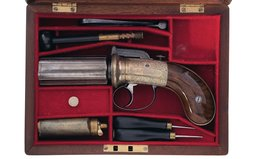 Cased Engraved Blissett of London Percussion Pepperbox
