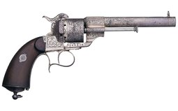 Silver Plated Engraved E. Lefaucheux Model 1854 Pinfire Revolver