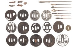 Assorted Japanese Items, Including Sword Components
