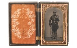 Cased Portrait of a Union Soldier Armed with a Volcanic Pistol