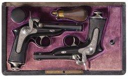 Pair of Engraved Devisme Parisian Percussion Pocket Pistols