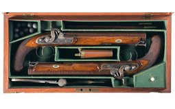 Cased Pair of Richards of London Percussion Dueling Pistols