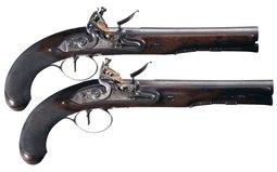 Pair of Paris & Son Flintlock Officer's Pistols