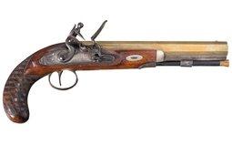 T. Atwood Brass Barrel Flintlock Pistol