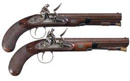 Pair of Evans English Flintlock Dueling Pistols